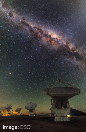 View of the Milky Way above ALMA telescope. Image credit ESO.
